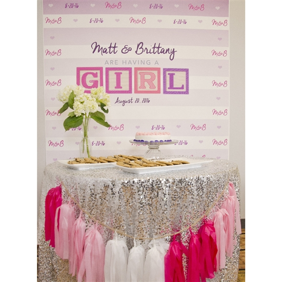 Baby Girl Announcement Printed Backdrop