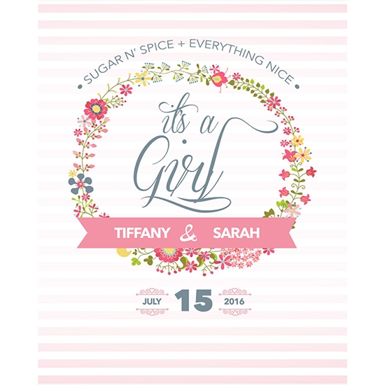 Baby Girl Shower Printed Backdrop