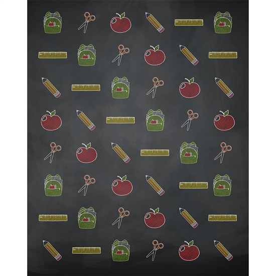 School Supplies Printed Backdrop