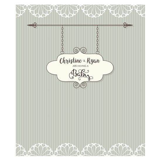 Vintage Baby Announcement Printed Backdrop