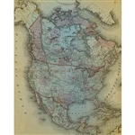 Vintage North America Map Printed Backdrop