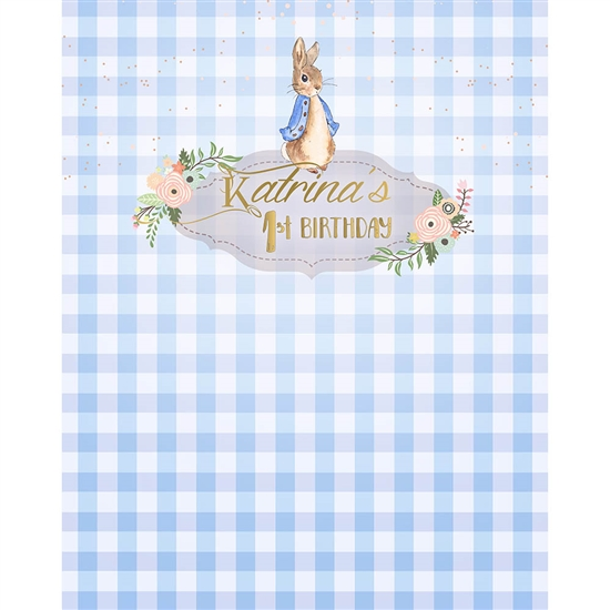 Blue Bunny Printed Backdrop