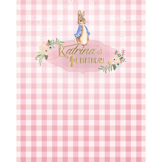 Pink Bunny Printed Backdrop
