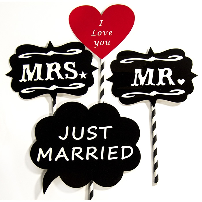 just married photo booth props backdrop express