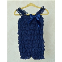 Navy Blue Lace Petti Romper