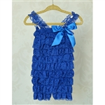 Royal Blue Lace Petti Romper