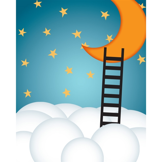 Moon & Clouds Poseable Printed Backdrop