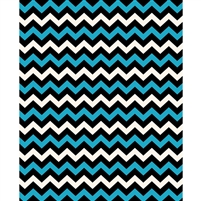 Electric Blue, Black & White Chevron Printed Backdrop