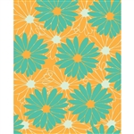 Large Blue/Orange Flowers Printed Backdrop