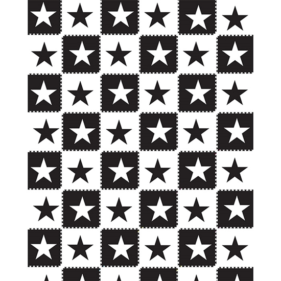 Black & White Star Tiles Printed Backdrop