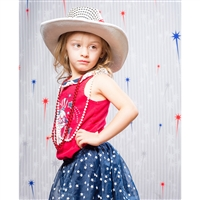 Red & Blue Fireworks Printed Backdrop