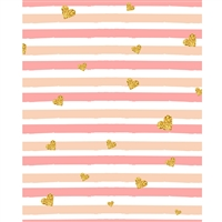 Glitter Heart Stripes Printed Backdrop