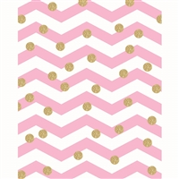 Gold Polka Dots on Chevron Printed Backdrop