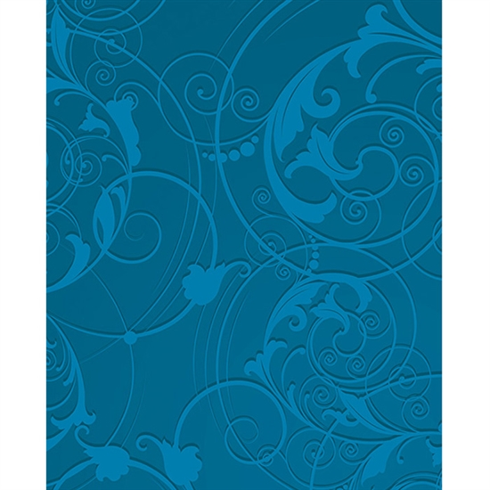 Blue Floral Swirls Printed Backdrop
