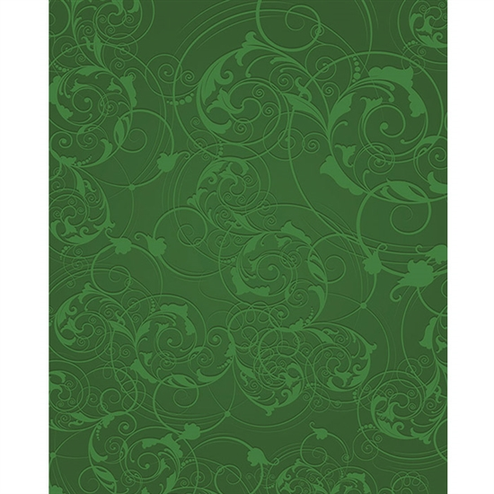 Green Floral Swirls Printed Backdrop