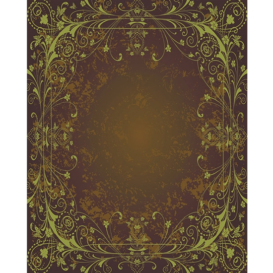 Brown & Green Antique Vine Printed Backdrop