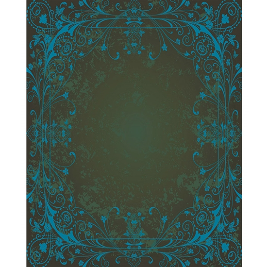 Brown & Blue Antique Vine Printed Backdrop