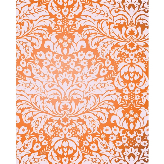 Orange Damask Printed Backdrop