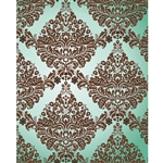 Brown & Teal Damask Printed Backdrop