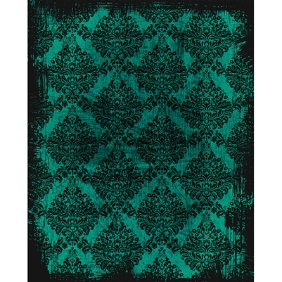 Teal Black Grunge Damask Printed Backdrop Backdrop Express