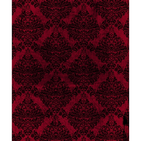 Red/Black Grunge Damask Printed Backdrop