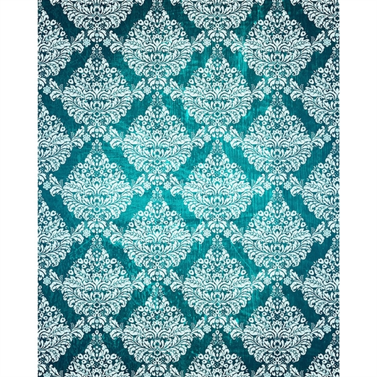 Teal/White Grunge Damask Printed Backdrop