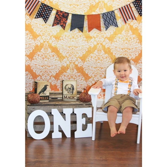 Orange/White Grunge Damask Printed Backdrop