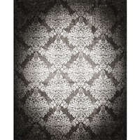White/Gray Grunge Damask Printed Backdrop