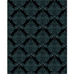 Black & Teal Damask Printed Backdrop