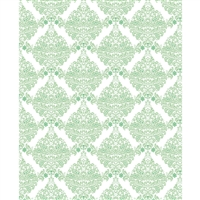 White & Green Damask Printed Backdrop