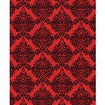 Red & Black Damask Printed Backdrop