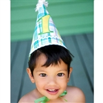 Blue Plaid 1st Birthday Hat