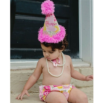 Pink Floral 1st Birthday Hat