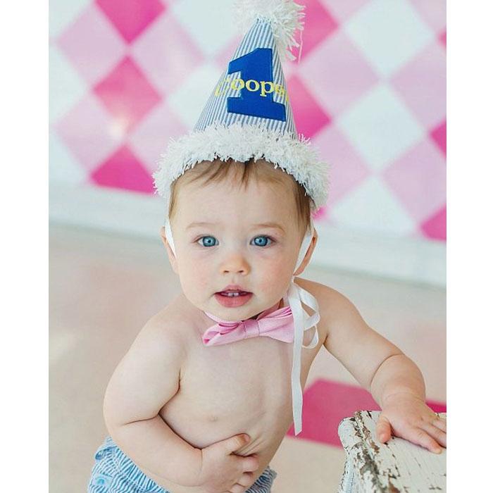 Seersucker Blue 1st Birthday Hat