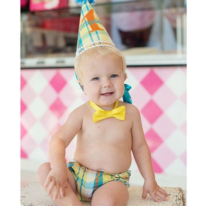Yellow Plaid 1st Birthday Hat
