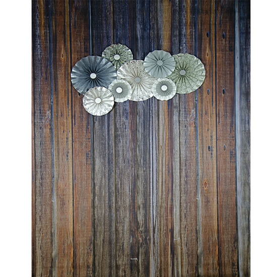 Silver Pinwheels on Wood Printed Backdrop