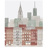 Colorful New York City Sketch Printed Backdrop
