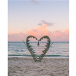 Palm Leaf Heart Printed Backdrop