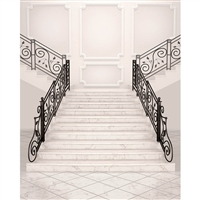 White Marble Stairs Printed Backdrop