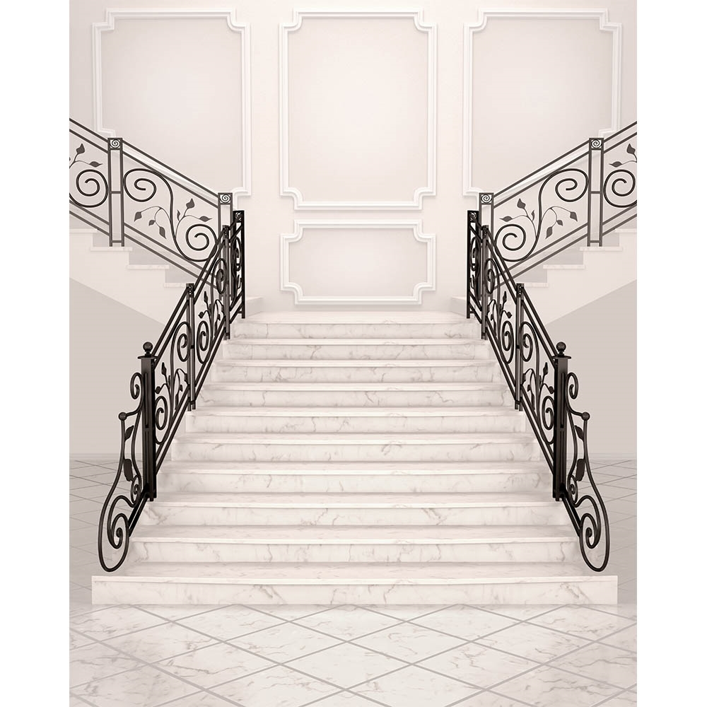 Beau White Marble Stairs Printed Backdrop