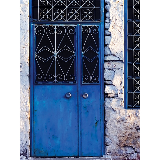 Bright Blue Door Printed Backdrop