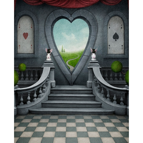 Queen of Hearts Window Printed Backdrop