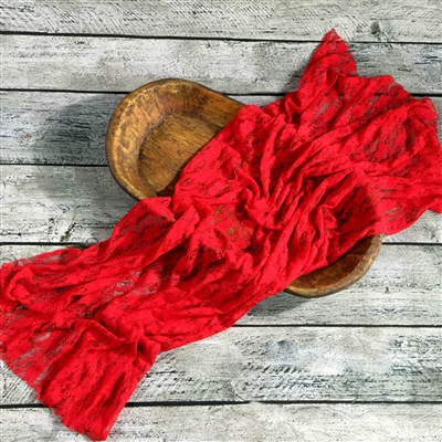 Holiday Red Stretch Lace Wrap