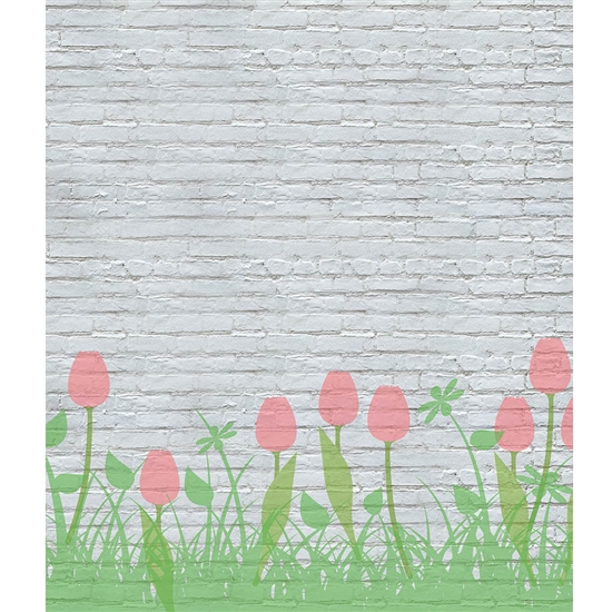 Tulips on Brick Printed Backdrop