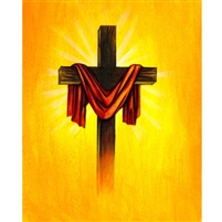 Cross with Red Sash Printed Backdrop