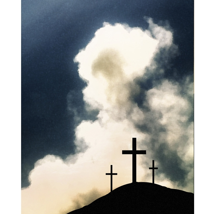 Crosses For Sale >> Three Crosses of Calvary Printed Backdrop | Backdrop Express