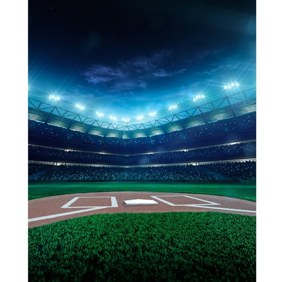 Baseball Field at Night Printed Backdrop