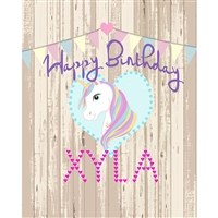 Rustic Unicorn Birthday Printed Backdrop