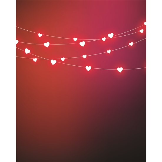 Heart Light Strings Printed Backdrop