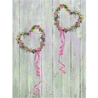 Heart Wreath Printed Backdrop